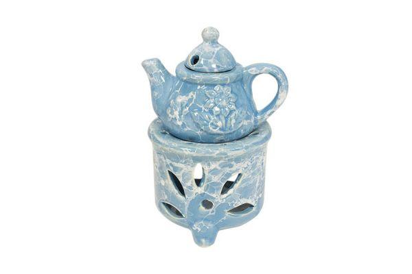 Аромалампа Чайник 10х15 см голубая керамика