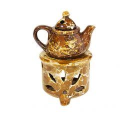 Аромалампа Чайник 10х15 см коричневая керамика
