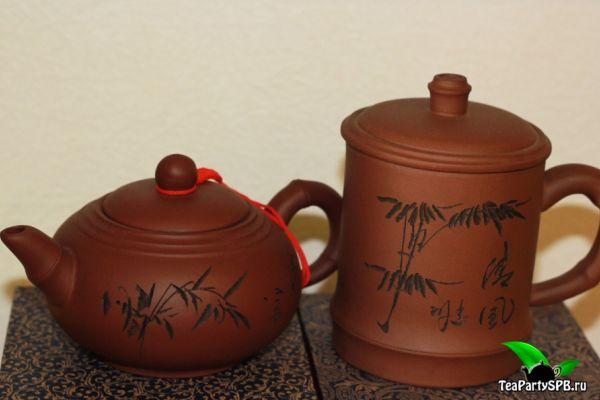 Набор чайник 380мл с кружкой из исинской глины