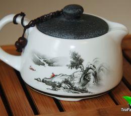 Чайник из фарфора с керамической крышечкой для чайной церемонии
