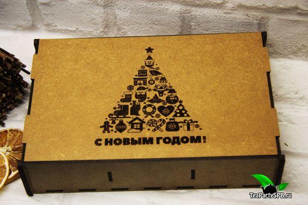 Подарочный набор в деревянной коробочке - «С новым годом! №2» (чай, шоколад)