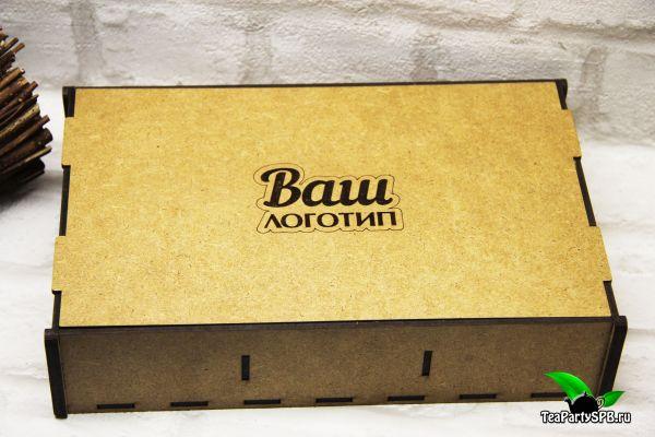 Подарочный набор в деревянной коробочке - «Ваш логотип №2» (чай, шоколад)