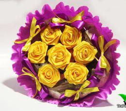 """Букет с чаем """"Желтые розы"""" (чай, сладости)"""