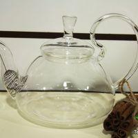 Стеклянный чайник из жаропрочного стекла с высокой ручкой, объем 800 мл
