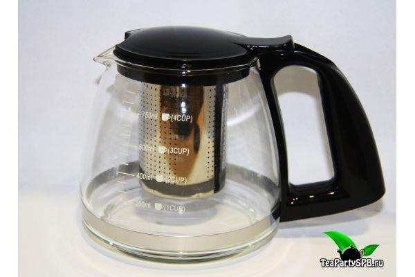 Стеклянный заварочный чайник, 750мл