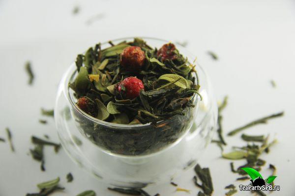 Зеленый ароматизированный чай - Брусничка