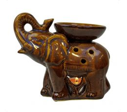 Аромалампа Слон Хобот вверх, 13х10х6 см, вайлет керамика