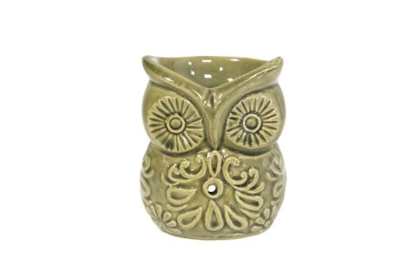 Аромалампа Сова, 8х10см, серая керамика