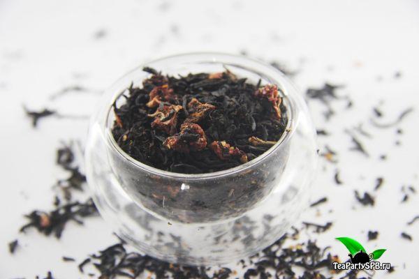 Черный ароматизированный чай - Земляника со сливками