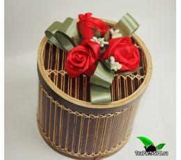 Подарочный набор (чай+чайник) - «Букет алых роз»