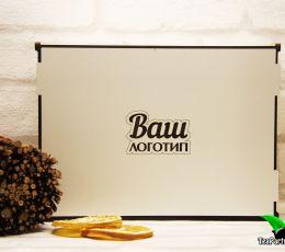 Подарочный набор в деревянной коробочке - «Ваш логотип №3» (чай, шоколад)