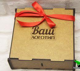 Подарочный набор в деревянной коробочке - «Ваш логотип» (чай, кофе, сладости)