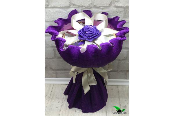 Букет из чая и сладостей - «Фиолет»
