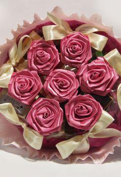 """Букет с чаем """"Розовые розы"""" (чай, шоколад)"""