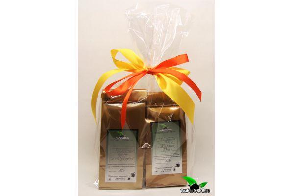 Оформление в подарочную пленку с бантом до 2-х пакетов чая