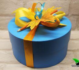 Подарочный набор в круглой коробке - «С Днём учителя!» (чай, карамель)