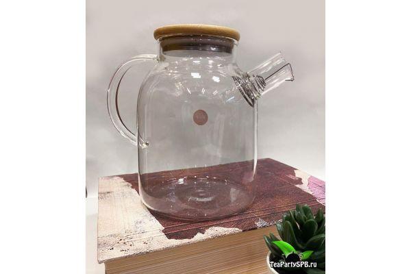 Чайник из жаропрочного стекла с бамбуковой крышкой 1800мл