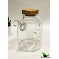 Чайник из жаропрочного стекла с бамбуковой крышкой 600мл