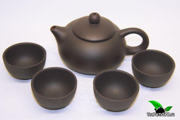 Глиняный чайник 120мл с 4 пиалами для чайной церемонии