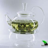 Стеклянный чайник из жаропрочного стекла с высокой ручкой и подогревом, объем 450 мл