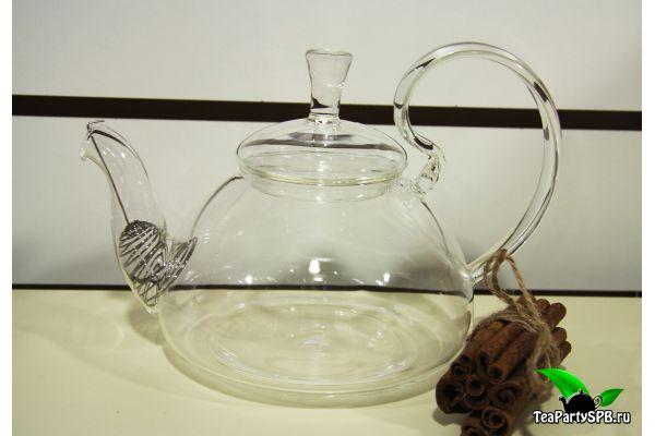 Стеклянный чайник из жаропрочного стекла с высокой ручкой, объем 1200 мл