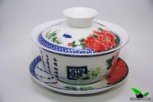 """Гайвань """"Красные цветы"""", фарфор, 150мл"""
