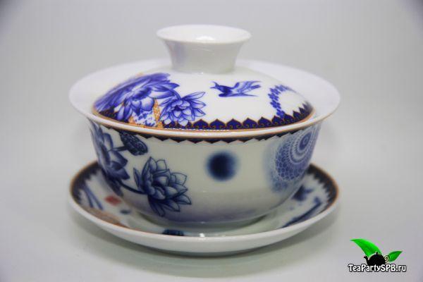 """Гайвань """"Синие цветы"""", фарфор, 150мл"""