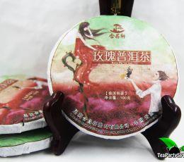 Шу пуэр с с добавлением лепестков розы, 2013 год, 100г (блин)