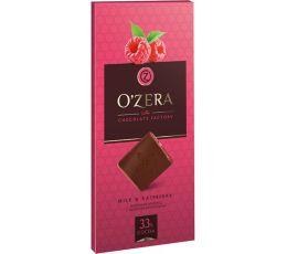 «OZera», шоколад молочный с кусочками малины Milk & Raspberry, 100г